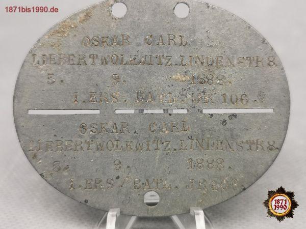 Erkennungsmarke 1. Weltkrieg, 1. ERS.BATL. JR106, Reichswehr