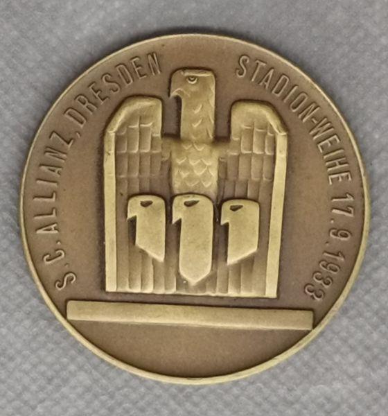 """Erinnerungsplakette """"S.C. Allianz Dresden, Stadion-Weihe 17.9.1933"""""""