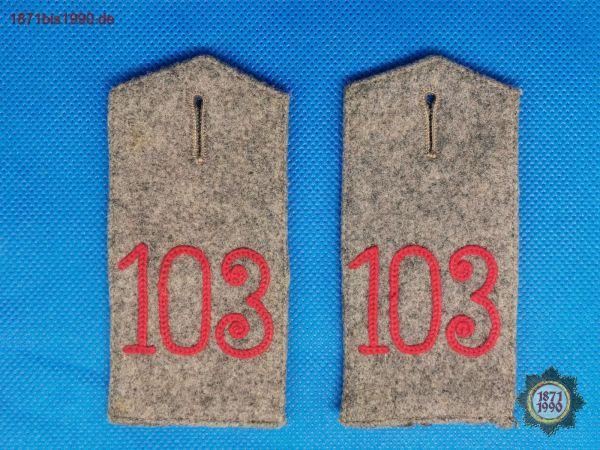 Schulterklappen, Sachsen, Kgl. Sächs. 4. Infanterie-Regiment Nr. 103, feldgrau, 1. WK