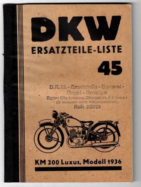 DKW KM200 Luxus, Modell 1936, Ersatzteile-Liste 46